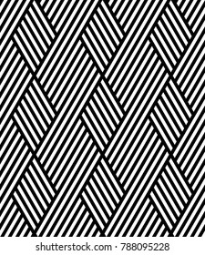 Vector seamless texture. Modern geometric background. Monochrome repeating pattern with hexagonal tiles and rhombuses.