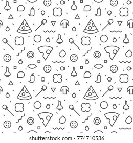 Vector Seamless texture. Pattern of a pizza. Slices and various ingredients. Memphis style.