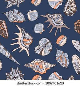 Vector seamless texture of sea shells icons. Vector colorful background. Marine illustration with collection of sea stones and shellfish designs. Printable decorative wallpaper, fabric with satchels