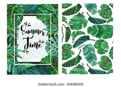 Vector seamless texture of tropical leaves. Summer template. Use for wallpaper, web page background