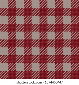 Vector seamless texture with vichy cage ornament. Red and grey cages
