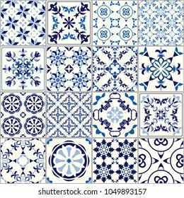 Vector seamless tile pattern. Abstract background. Ceramic tiles. Indigo blue flower azulejos decoration