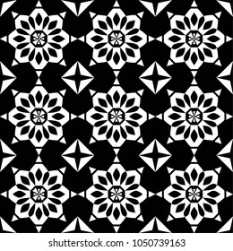 Vector seamless tile pattern. Abstract background. Ceramic tiles. Decorative monochrome design.