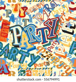 Vector seamless tile of the word Party in different colorful typefaces