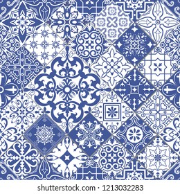 Vector seamless tiles background in portuguese style. Blue and white mosaic pattern. Tiles for ceramic in dutch, portuguese, spanish, italian style.