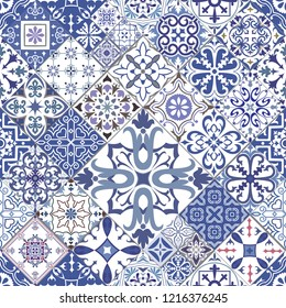 Vector seamless tiles background in portuguese, spanish, italian style. For wallpaper, backgrounds, decoration for your design, ceramic, page fill and more.