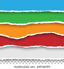 Vector seamless torn papers set on transparent background. Isolated ripped colored (red, blue, green, orange, white) paper edges with soft shadow. Template for your design.