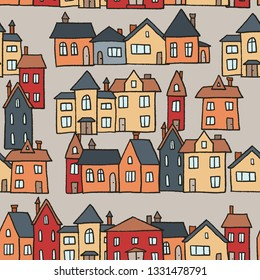Vector seamless town - village textile pattern illustration.