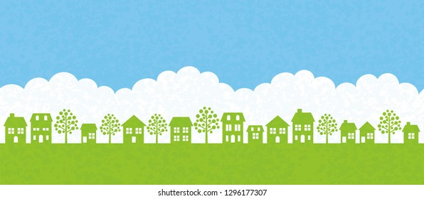 Vector seamless townscape illustration. Horizontally repeatable.