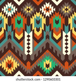 Vector Seamless Tribal Pattern. Ethnic Ornament. Mix of Triangles, Rhombus and Stripes. Textile Design