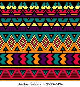 Vector Seamless Tribal Pattern. Ethnic Background with Triangles, Rhombus and Stripes