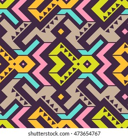Vector Seamless Tribal Pattern. Ethnic Print Ornament with Triangles, Stripes and Rhombuses