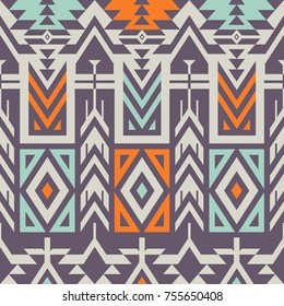 Vector Seamless Tribal Pattern. Ethnic Ornament with Triangles, Rhombus and Stripes. Textile Design