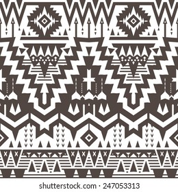Vector Seamless Tribal Pattern. Geometrical Black and White Ethnic Background with Triangles and Stripes