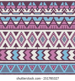 Vector Seamless Tribal Pattern. Geometrical Ethnic Print Ornament with Triangles, Zigzag and Stripes. Rough Edges Style Shapes