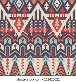 Vector Seamless Tribal Pattern. Geometrical Ethnic Print Ornament with Rhombus, Triangles and Stripes