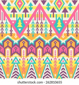Vector Seamless Tribal Pattern. Geometrical Ethnic Print Ornament with Mix of Rhombus, Triangles and Stripes