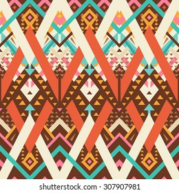 Vector Seamless Tribal Pattern. Geometrical Ethnic Print Ornament with Mix of Triangles and Stripes