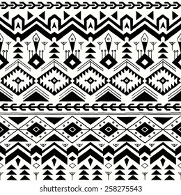 Vector Seamless Tribal Pattern in Hand Drawn Style. Black and White  Ethnic Background