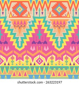 Vector Seamless Tribal Pattern in Psychedelic Colors. Ethnic Ornament with Triangles, Rhombus and Stripes