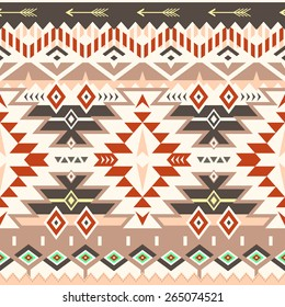 Vector Seamless Tribal Pattern in Red - Brown Colors. Ethnic Ornament with Triangles, Rhombus and Stripes. Textile Design