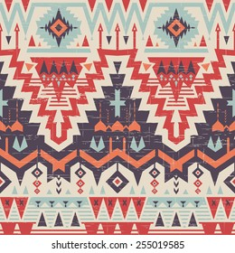 Vector Seamless Tribal Pattern in Scratches Style. Ethnic Ornament with Triangles, Rhombus and Stripes