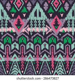 Vector Seamless Tribal Pattern in Scribble Style. Handicraft Ethnic Ornament with Triangles, Rhombuses and Stripes. Rough Edges Shapes