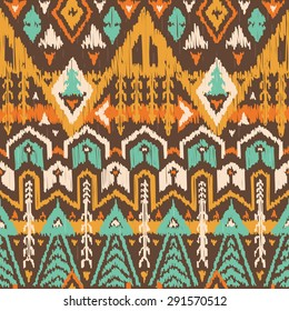 Vector Seamless Tribal Pattern in Scribble Style. Ikat Ornament with Triangles, Rhombuses and Stripes. Rough Edges Shapes