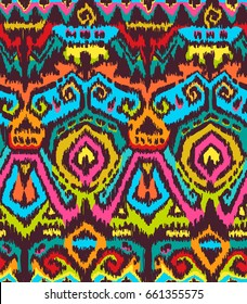 Vector Seamless Tribal Pattern in Scribble Style. Colorful Handicraft Ethnic Ornament.   Textile Design. Rough Edges Shapes