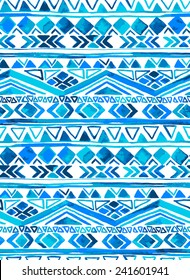 vector seamless tribal pattern in shades of blue and turquoise. aztec ethnic motifs in striped layout.