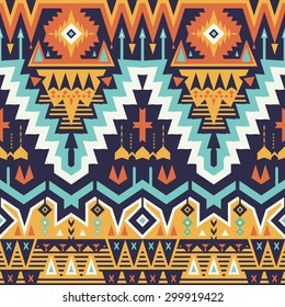 Vector Seamless Tribal Pattern. Stylish Art Ethnic Print Ornament with Triangles, Chevrons, Rhombuses and Stripes