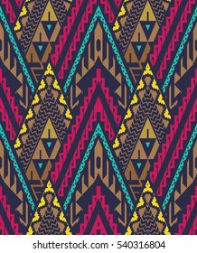 Vector Seamless Tribal Pattern. Stylish Art Ethnic Print Ornament with Triangles, Chevrons and Stripes