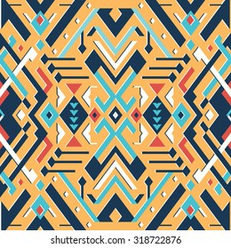 Vector Seamless Tribal Pattern for Textile Design. Geometrical Ethnic Print Ornament with Mix of Rhombuses, Triangles and Stripes