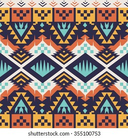 Vector Seamless Tribal Pattern for Textile Design. Aztec Ethnic Ornament. Mix of Squares, Triangles and Stripes