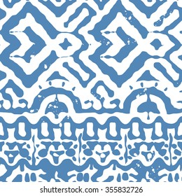 Vector Seamless Tribal Pattern for Textile Design. Hand Drawn Ethnic Ornament with Tangled Blue Stripes on White. Background in Navajo Style