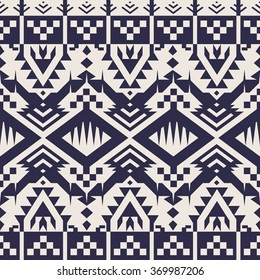 Vector Seamless Tribal Pattern for Textile Design. Monochrome Ethnic Print with Mix of Rhombuses, Triangles and Stripes