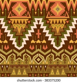 Vector Seamless Tribal Pattern for Textile Design. Geometrical Ethnic Ornament with Triangles, Rhombuses and Stripes