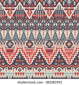 Vector Seamless Tribal Pattern for Textile Design. Geometrical Ethnic Print Ornament with Triangles, Rhombuses and Stripes