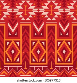 Vector Seamless Tribal Pattern for Textile Design. Ethnic Print with Mix of Rhombuses, Triangles and Stripes