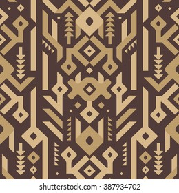 Vector Seamless Tribal Pattern in Wooden Style. Ethnic Print Ornament for Textile Design. Mosaic of Triangles, Rhombuses and Stripes