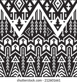 Vector Seamless Tribal Striped Pattern. Geometrical Black and White Ethnic Background with Triangles and Stripes