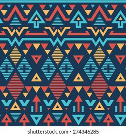 Vector Seamless Tribal Striped Pattern. Geometrical Background with Triangles, Rhombus and Stripes on Deep Blue Color