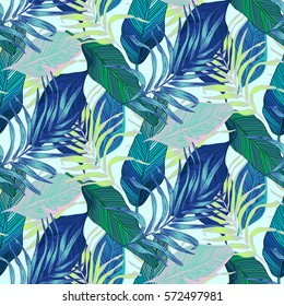 Vector, seamless, tropical, exotic, trendy, stylish, trendy, pattern of exotic, tropical plants, and shades of green. applicable in advertising prints, printing.