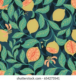 Vector seamless tropical fruit pattern