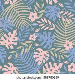 Vector seamless tropical leaves pattern