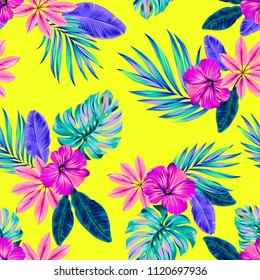 Vector seamless tropical pattern with beautiful exotic flowers and leaves.