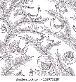 Vector seamless tropical pattern with birds on tree in love in boho ornament style. Can be printed and used as wrapping paper, coloring page, wallpaper, textile, fabric, etc.