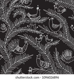 Vector seamless tropical pattern with birds on tree in love in boho ornament style. Can be printed and used as wrapping paper, wallpaper, textile, fabric, etc.