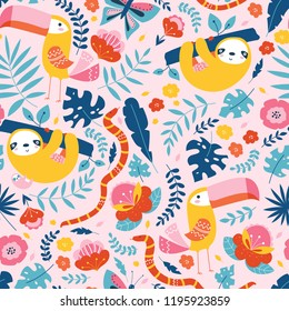 Vector seamless tropical pattern with cute animal characters, toucan, sloth, snake, butterfly