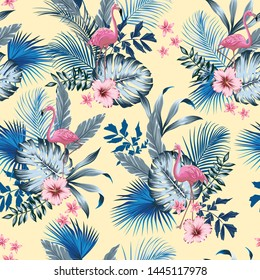 vector seamless tropical pattern with lush foliage, flowers, pink flamingos. Exotic floral design with monstera leaves, areca palm leaf, hibiscus, frangipani.